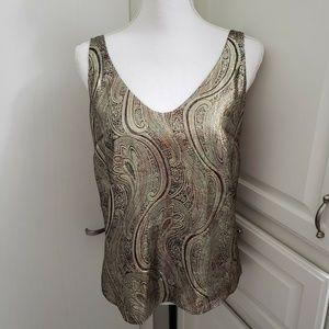 J.CREW Size 2 Silk Metallic Gold NWOT